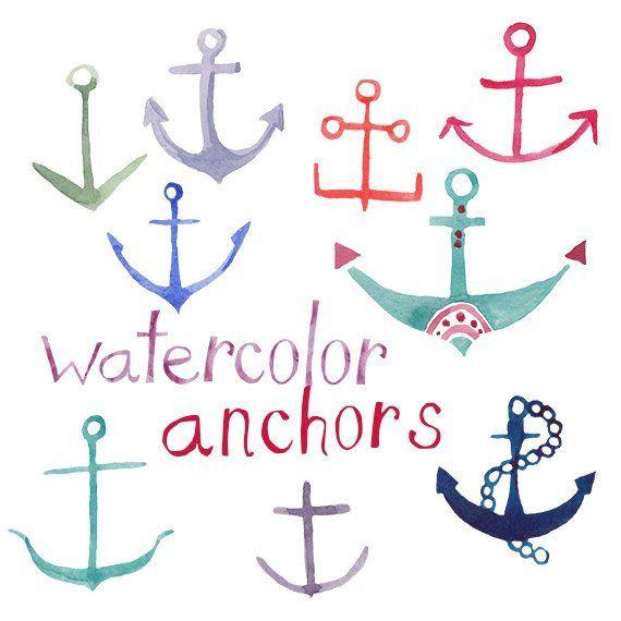 Watercolor Anchors clipart nautical party clip art Anchor.
