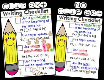 EDITABLE Writing Checklist Anchor Chart.