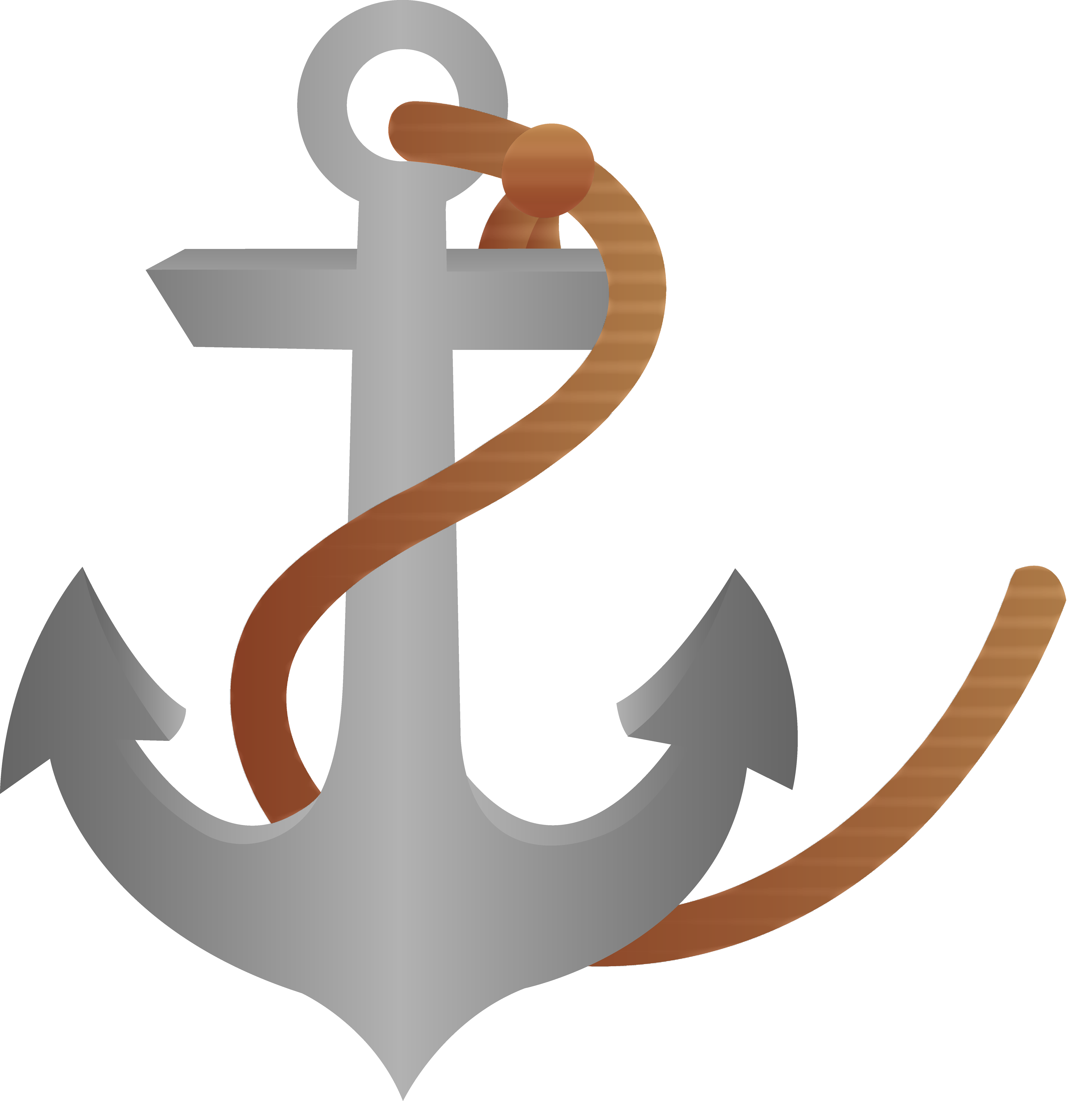 Ship Anchor With Rope.