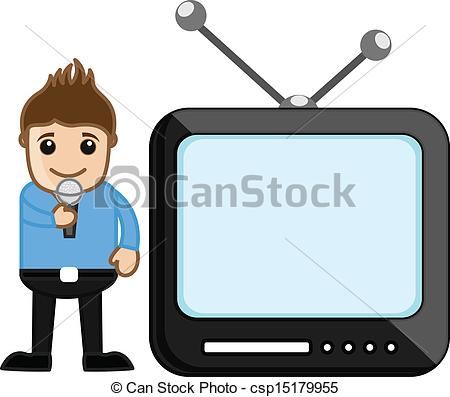 Clipart Vector of TV Anchor.