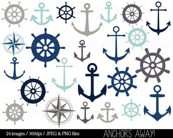 Nautical Clipart Clip Art, Anchor Clipart, Helm Clipart.