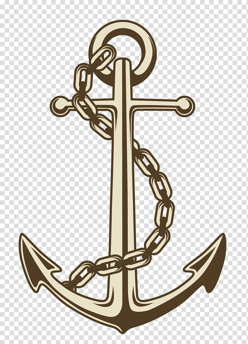 Brown anchor illustration, Anchor , painted anchor chains.