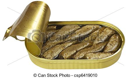 Stock Photography of open box with anchovies isolated csp6419010.