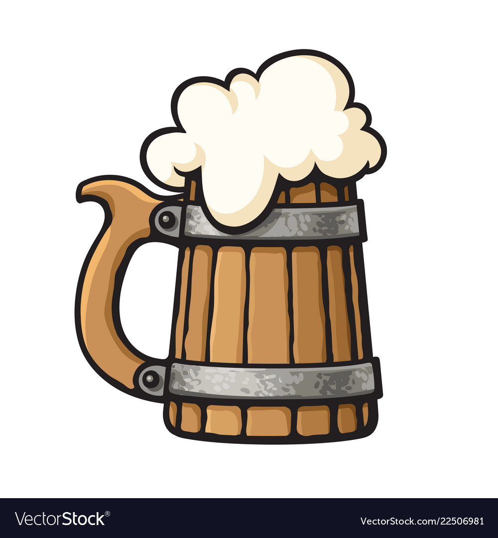 Cartoon old wooden beer mug with foam design.