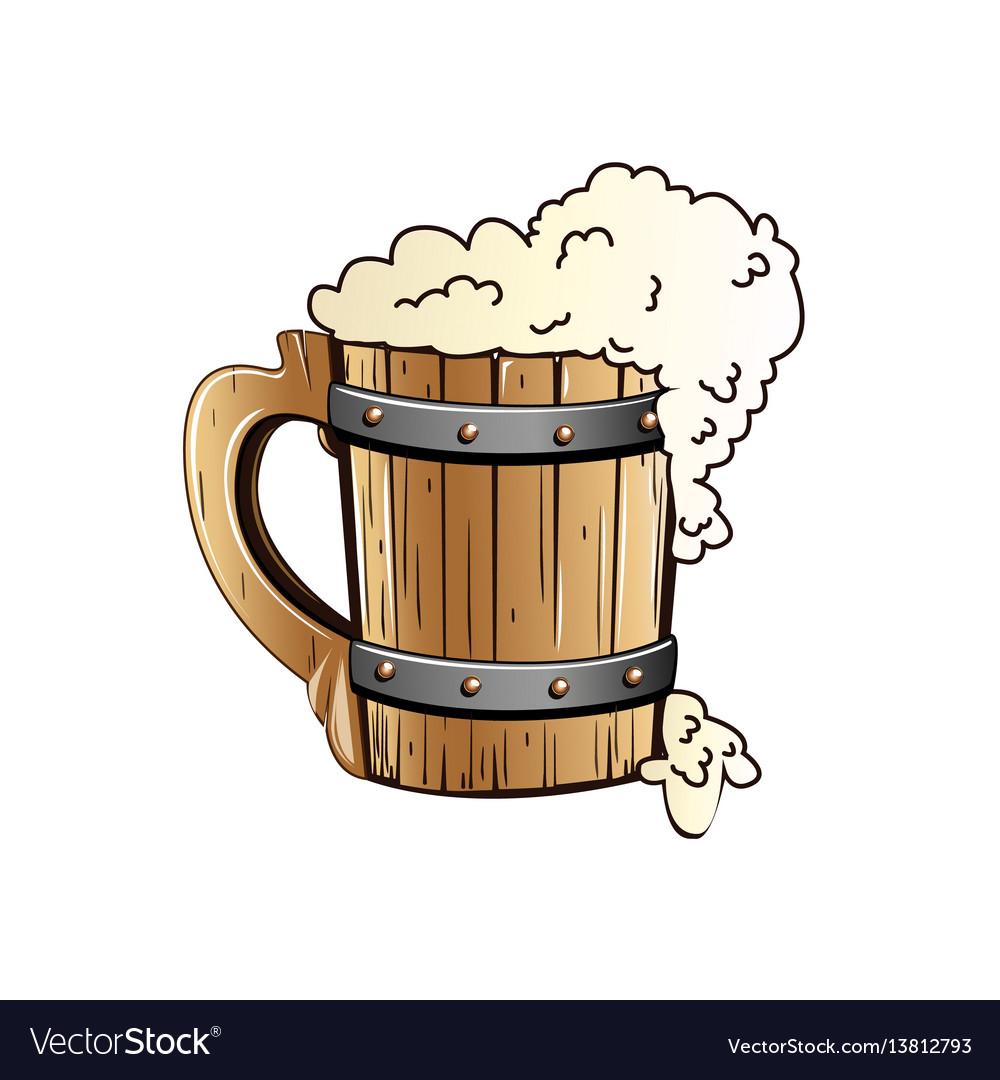 Old wooden beer mug.