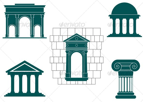 Symbols of ancient buildings Symbols of ancient buildings.