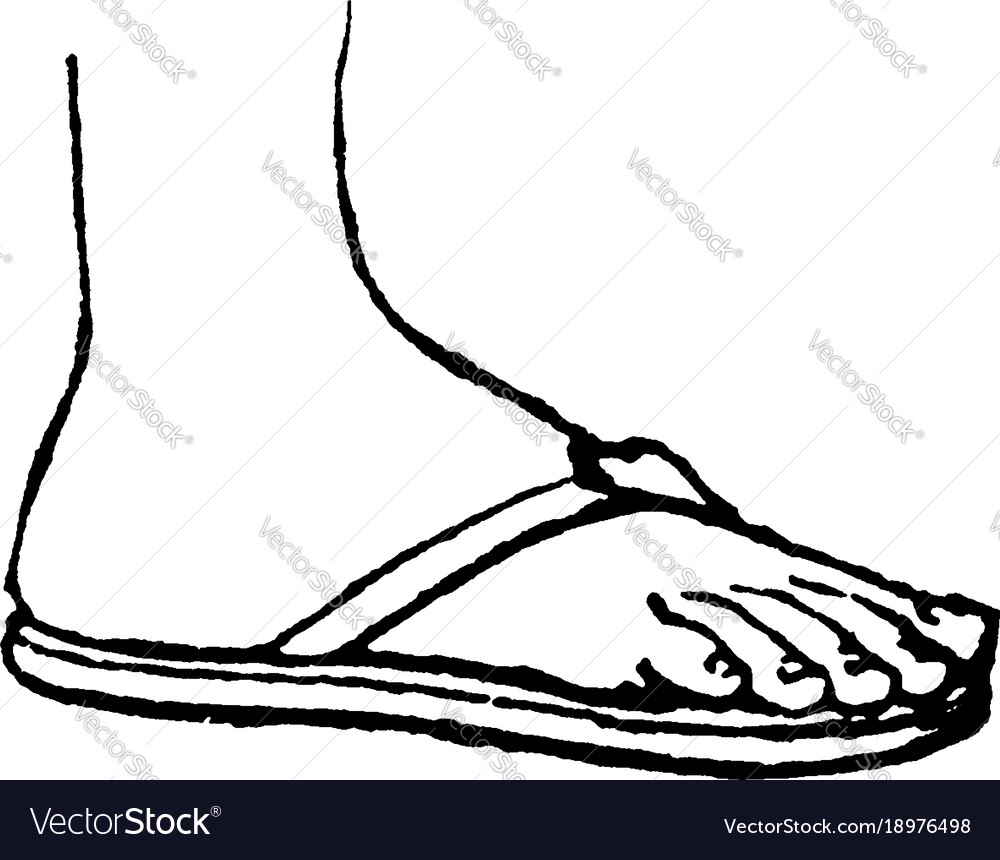 Greek sandal ancient greece vintage engraving vector image.