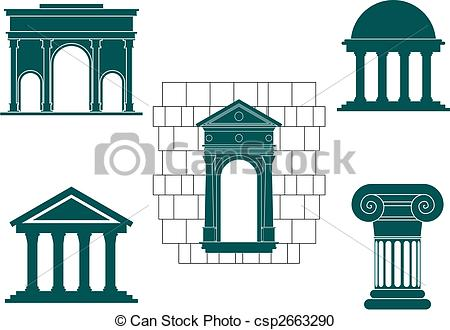 Vector Clipart of Ancient buildings symbols.