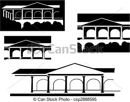 Clipart Vector of Ancient building isolated on white for design.