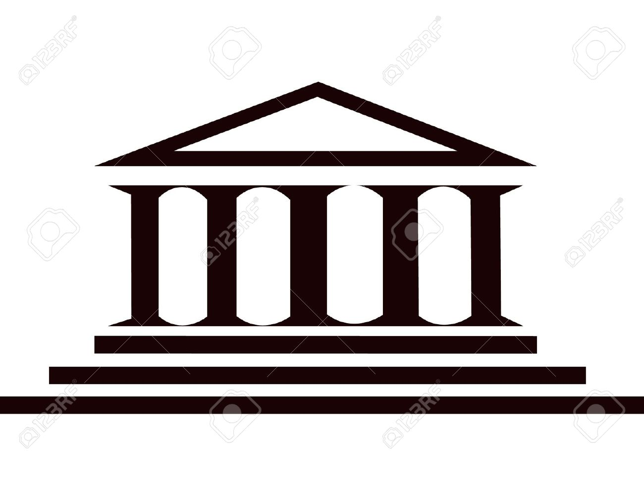 Columns Ancient Greek Historic Building Royalty Free Cliparts.