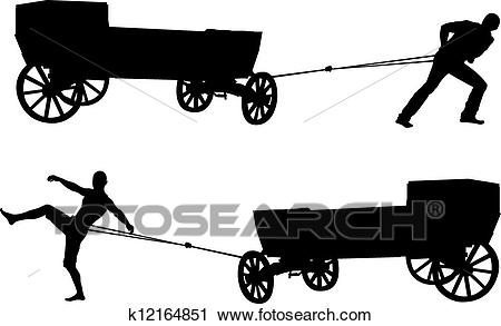 Ancient cart and man Clipart.
