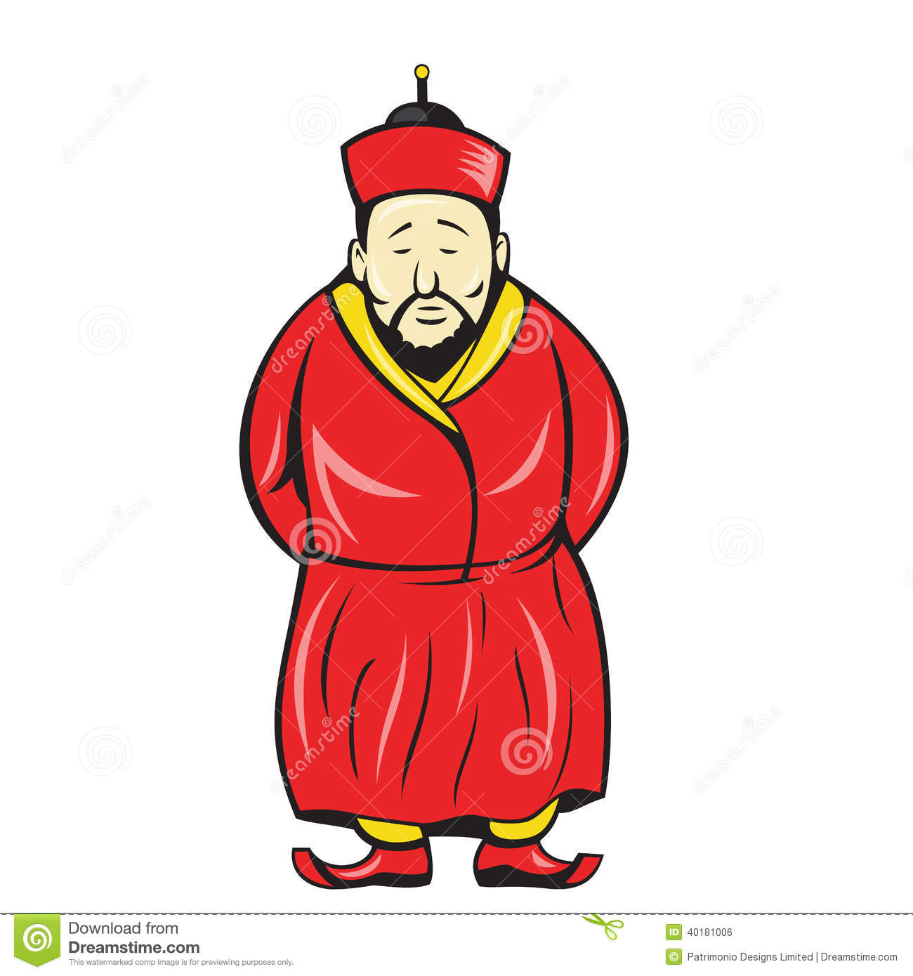 Ancient Chinese Man Clipart.