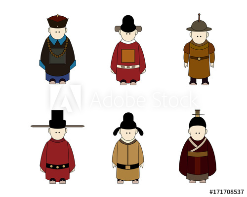 Ancient Chinese People Cartoon, Classic Dressing, Different.
