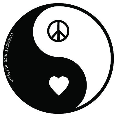 Yin Yang Peace and Love Sticker.