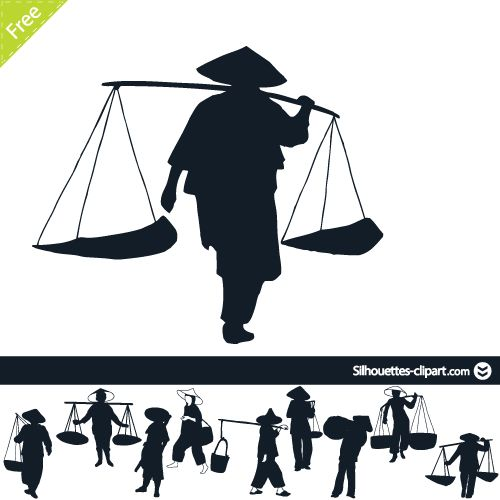 Chinese peasants silhouette.
