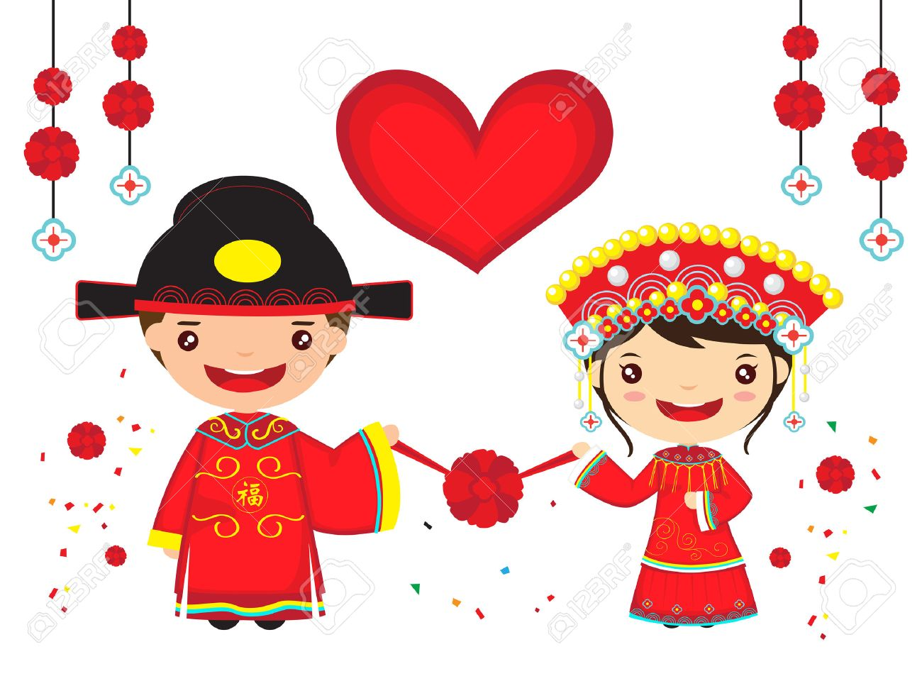 chinese couple in traditional wedding costume, cartoon chinese...