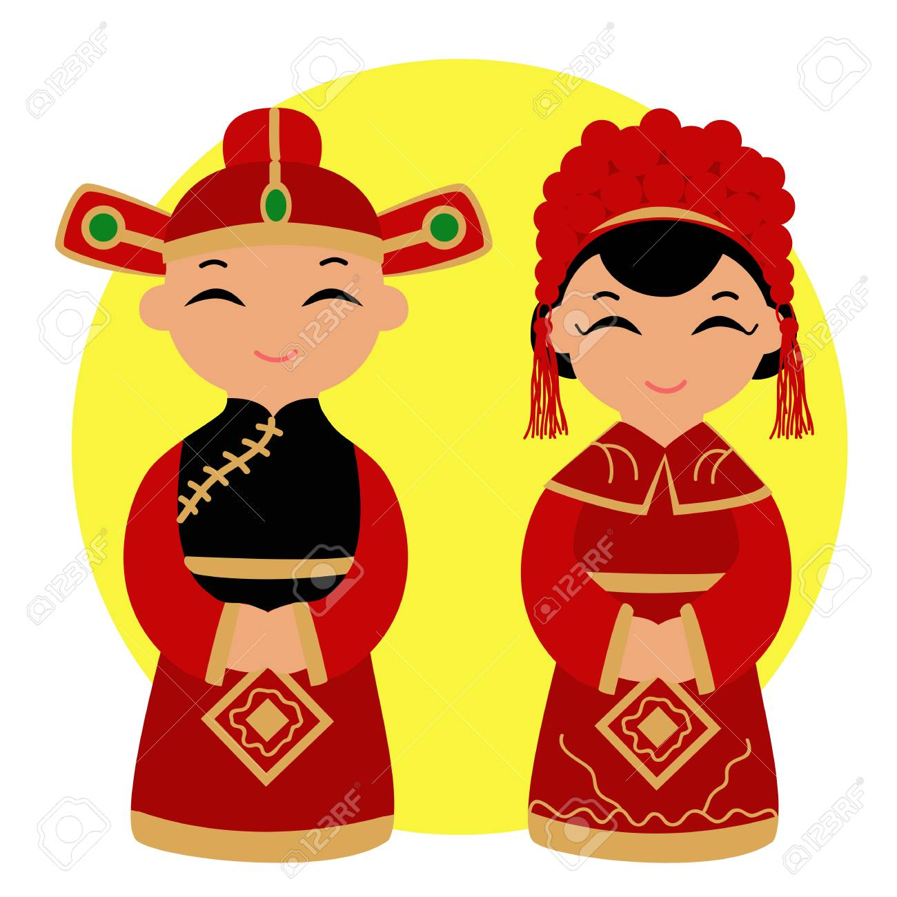 Chinese bride and groom. Chinese Couple In Traditional Wedding...
