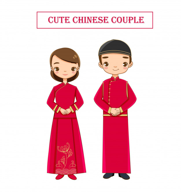 Cute wedding chinese couple in traditional dress Vector.