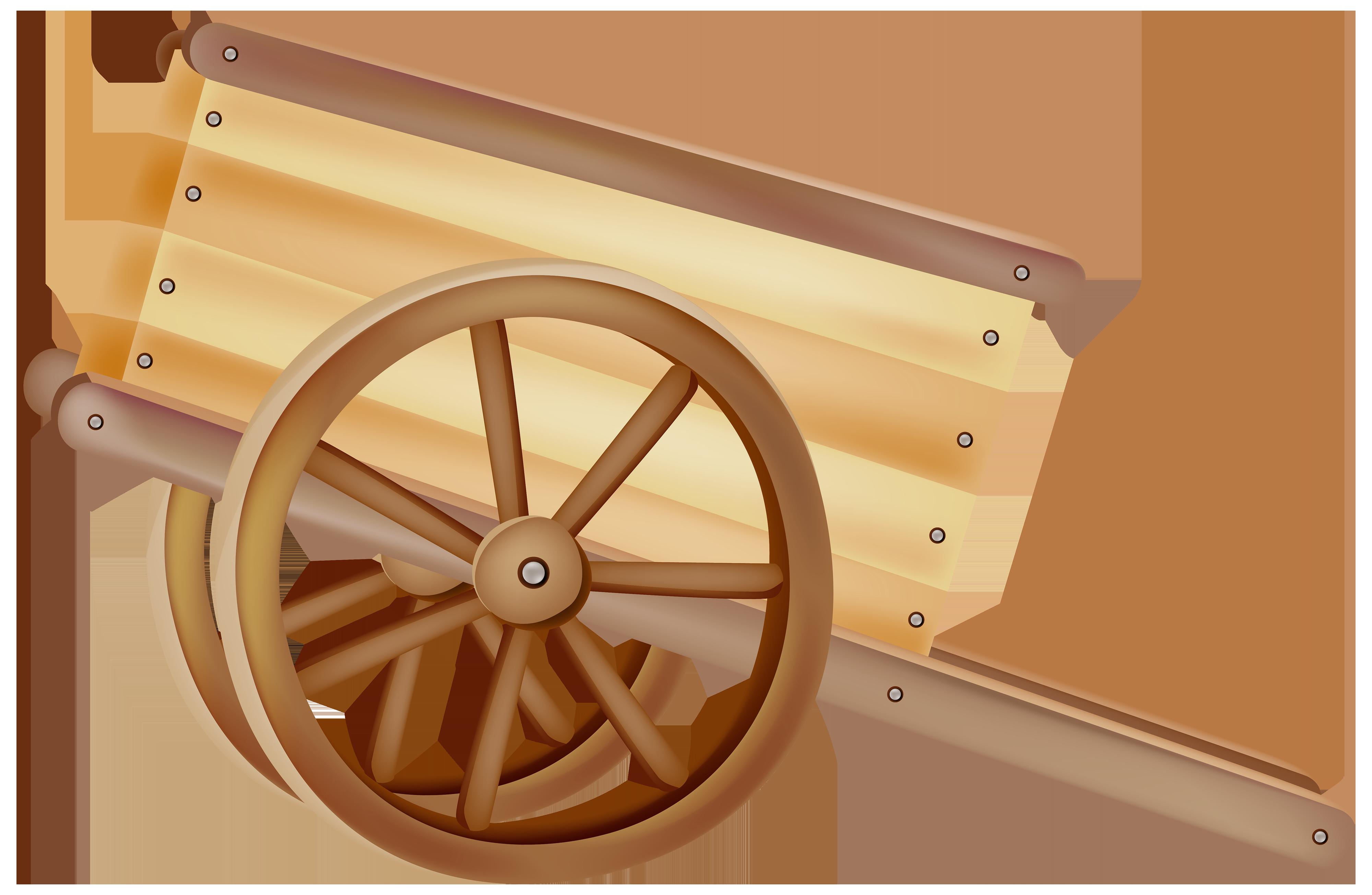 Wooden Wheelbarrow PNG Clipart.