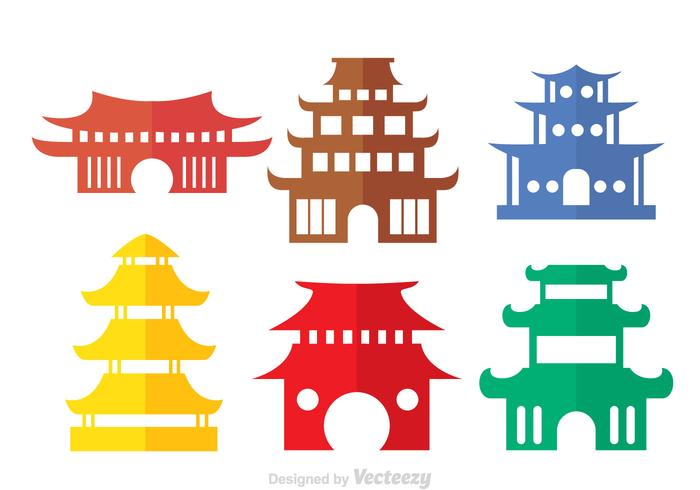 Colorful Chinese Temple Vectors.