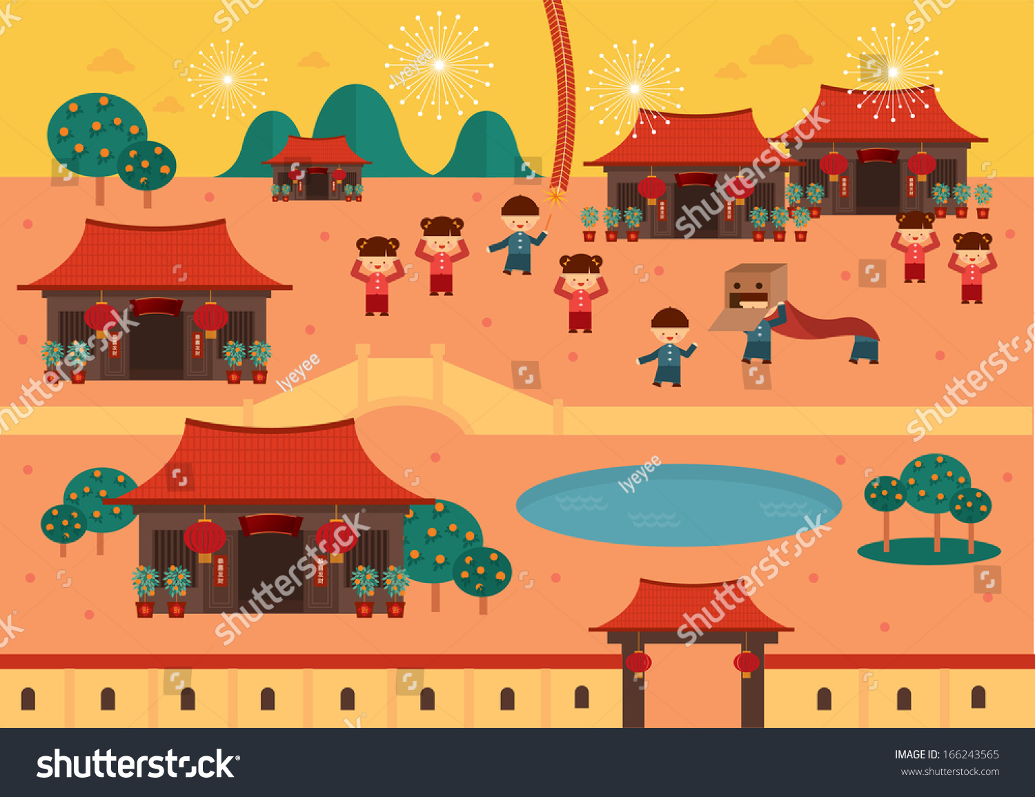 Chinese Village Clipart.