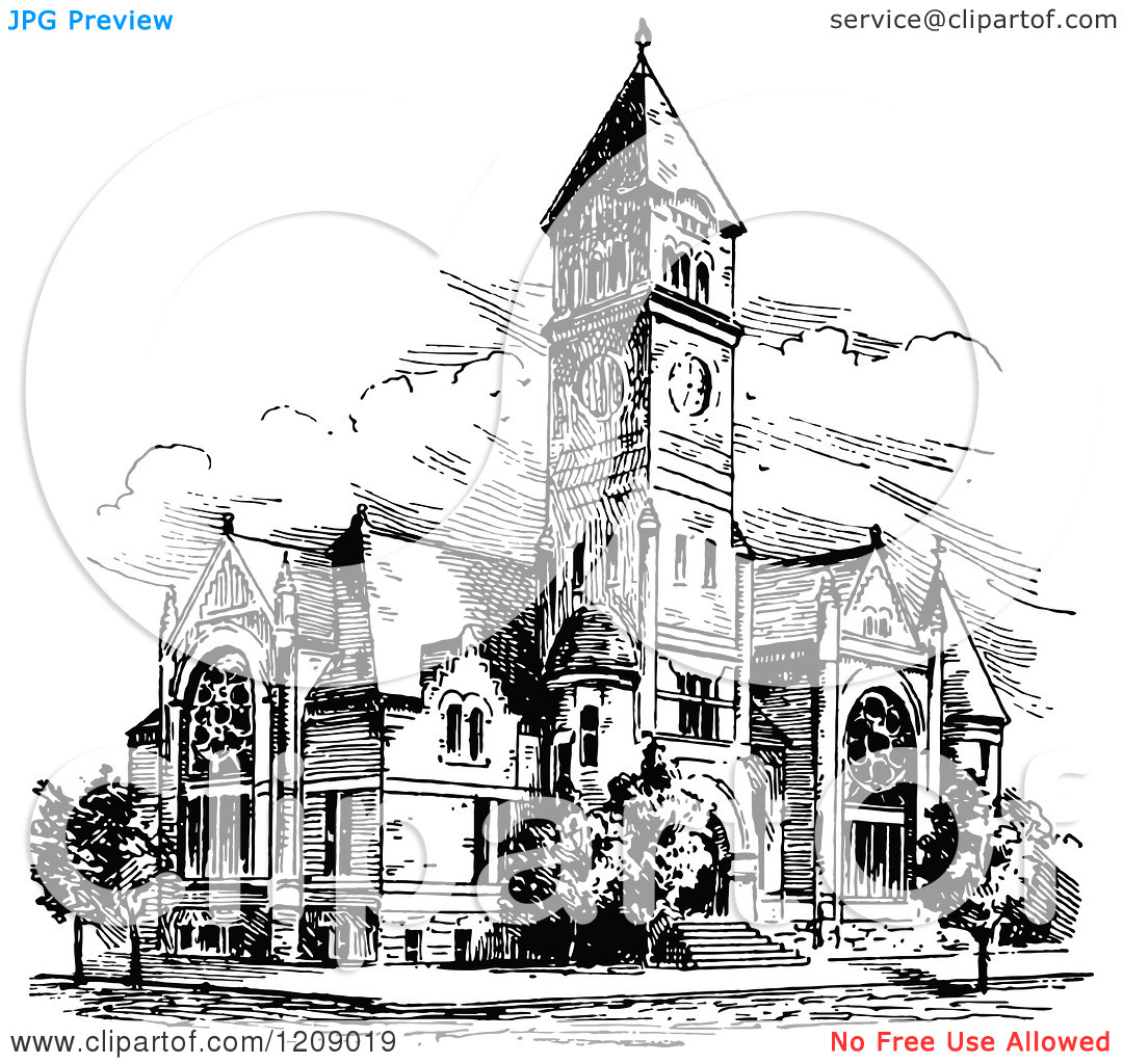 Clipart of a Vintage Black and White Ancient Church.