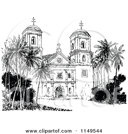 Clipart of a Retro Vintage Black and White Church Tower and.