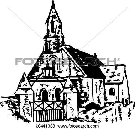 Drawing of ancient church k0441333.