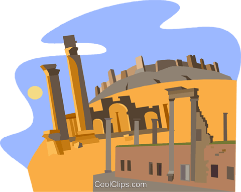 Syria, Ancient City of Bosra Royalty Free Vector Clip Art.