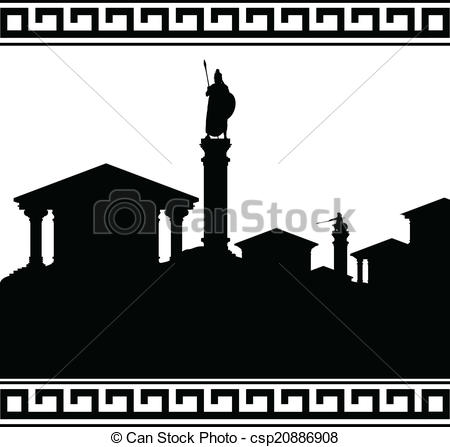 Vector Clipart of silhouette of ancient city. vector illustration.