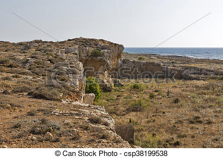 Stock Photos of Ancient city walls ruins in Paphos, Cyprus.