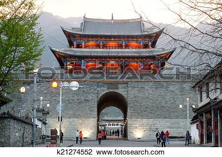 Stock Photo of Scenic of city gate and city wall in ancient city.
