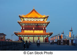 Stock Photography of Night scenes of the ancient city wall of Xian.
