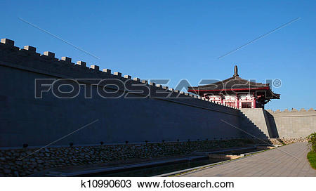 Stock Photo of Ancient city wall of Xian China k10990603.