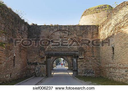 Picture of Turkey, Marmara Region, Iznik, ancient city wall and.