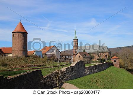 Picture of Dilsberg Village ancient city walls.