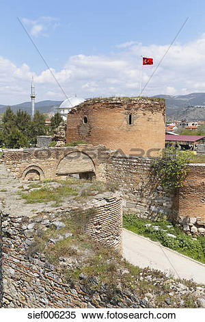 Stock Image of Turkey, Marmara Region, Iznik, ancient city wall.