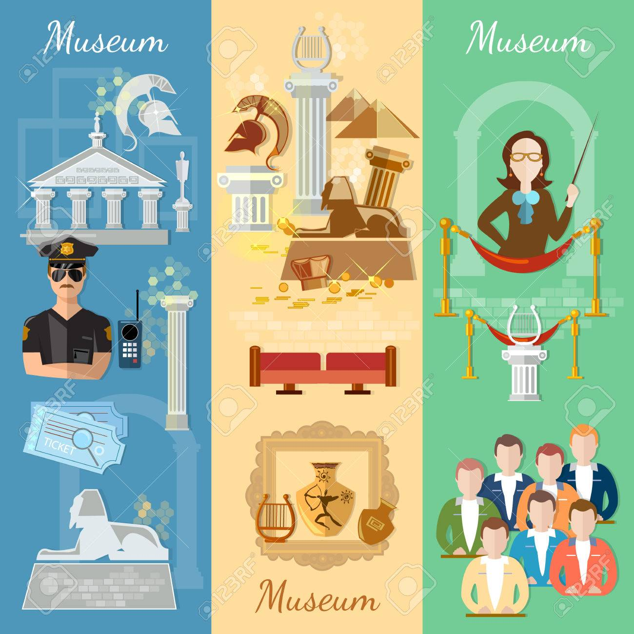 Museum banner antiquity and natural science exposition ancient...