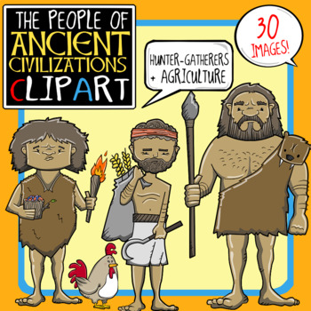 People of Ancient Civilizations Clip Art: Agriculture + Hunter.
