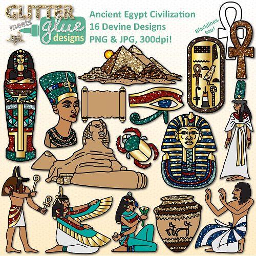 Ancient Egypt Clip Art: Nile River Civilization & Culture {Glitter.