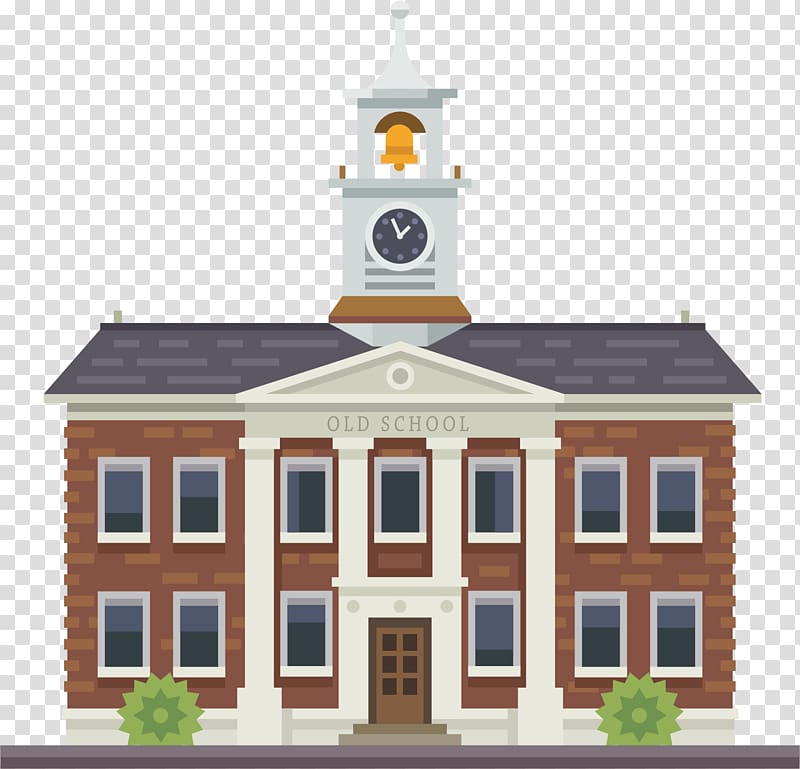 Brown and white old school illustration, Building University.
