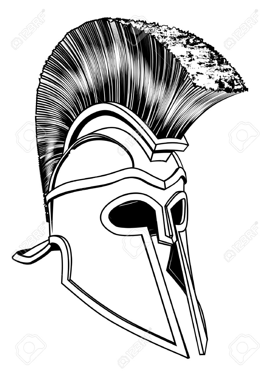 Monochrome Illustration Of A Bronze Corinthian Or Spartan Helmet.