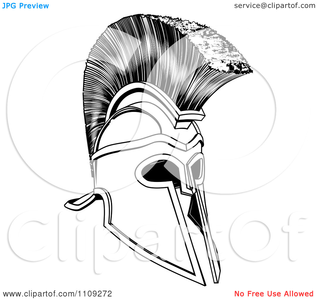 Clipart Black And White Ancient Corinthian Or Spartan Helmet.
