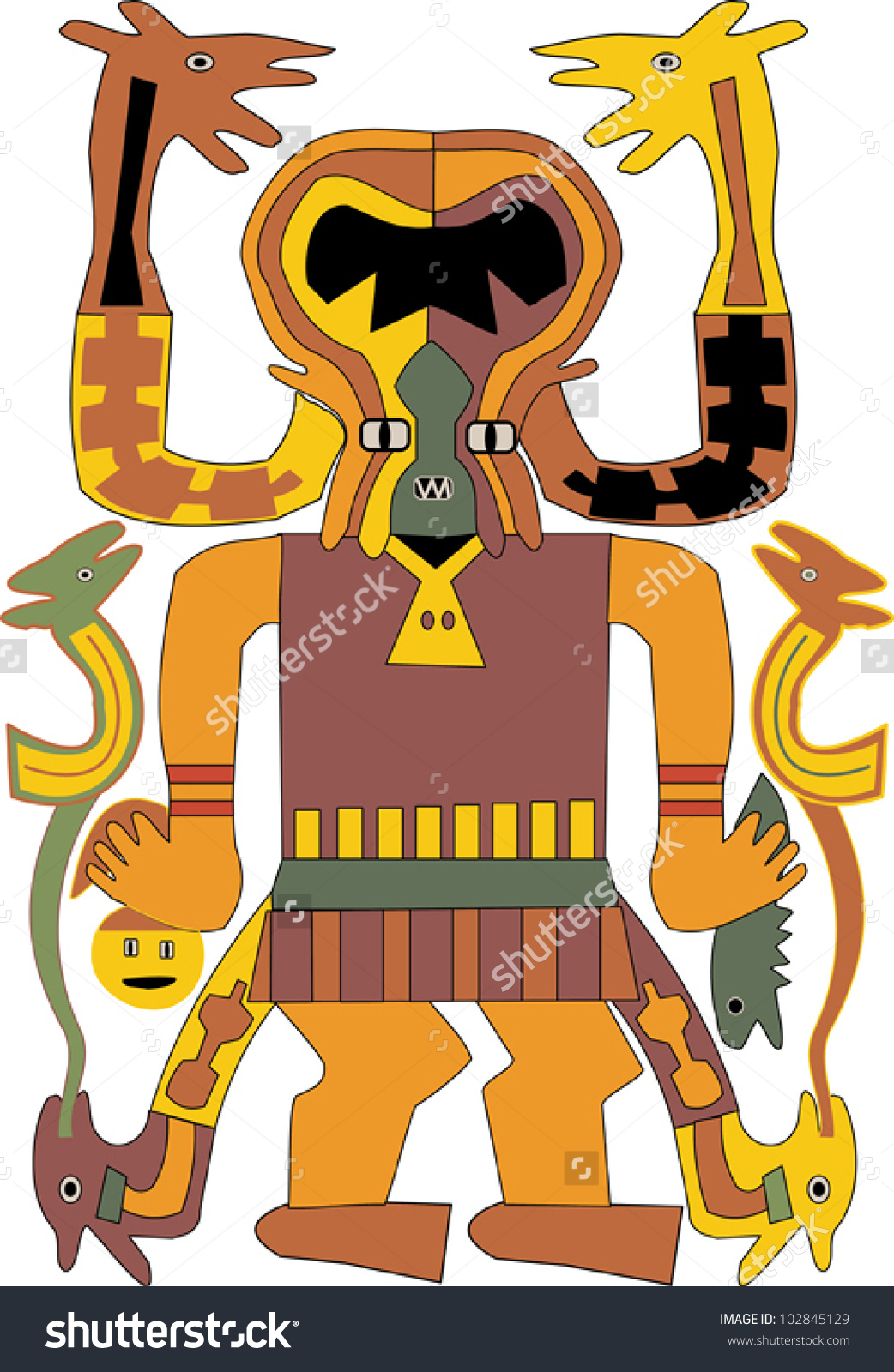 Mythical Characters From Ancient Culture Represented In A Naive.