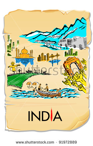 Illustration Drawing Indian Culture On Ancient Stock Vector.