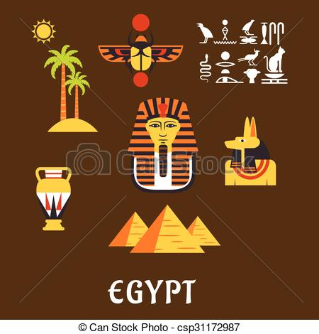 Vector of Egypt travel and ancient culture icons.