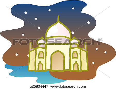 Clip Art of foreign culture, world ancient architecture, tajimahal.
