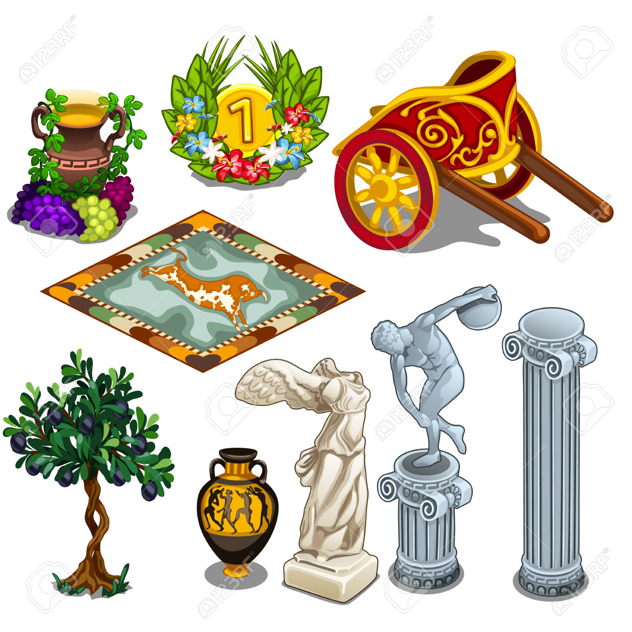 Greek Statues And Other Symbols Of Ancient Culture. Big Vector.