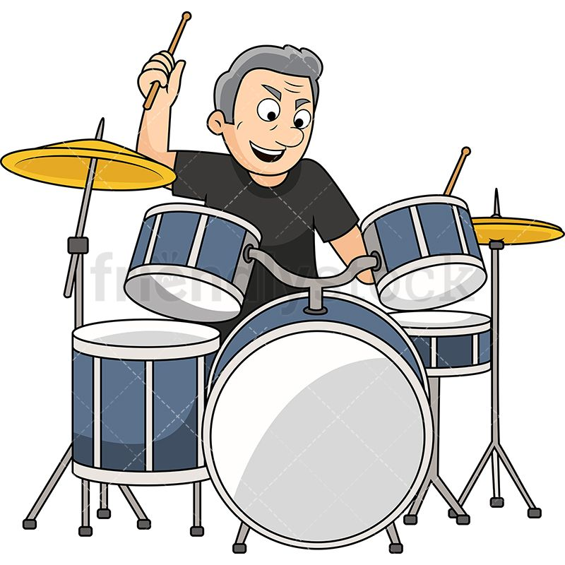 Old Man Playing Drums.