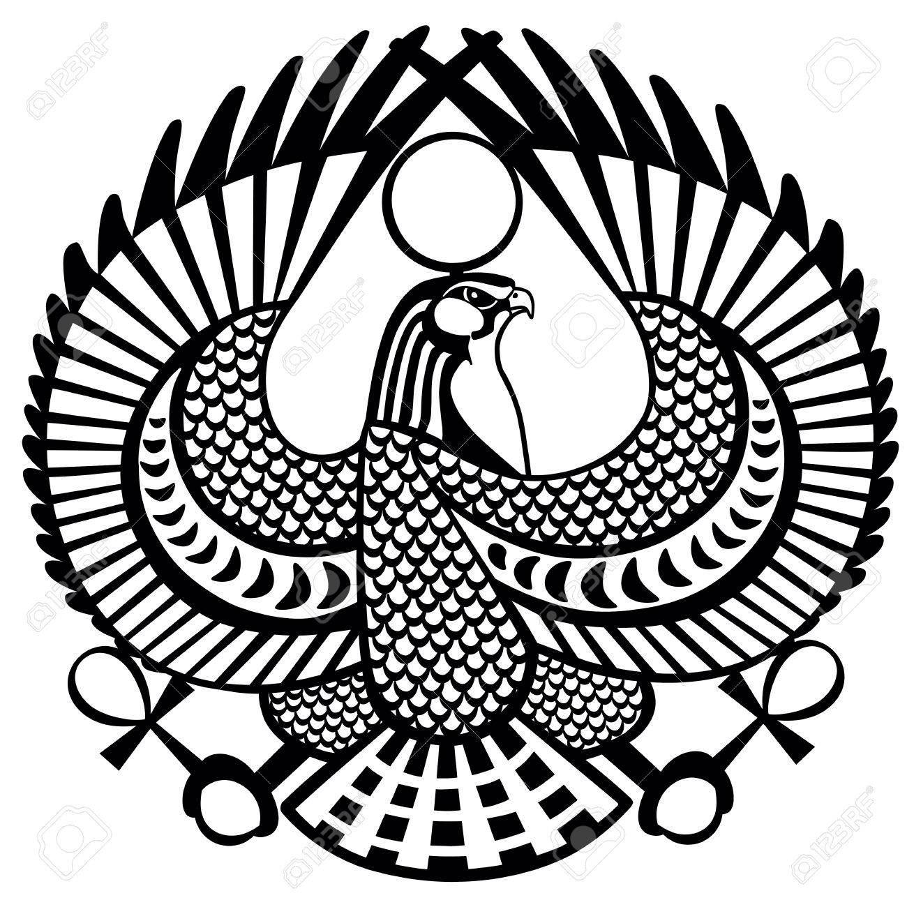 Falcon ancient Egyptian symbol of god Horus .Black and white...